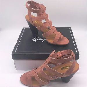 Qupid Strappy Rose Colored High Heel Sandals 8M